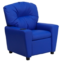 Upholstered Kids Recliner Chair - Cup Holder, Blue