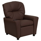 Leather Kids Recliner Chair - Cup Holder, Brown