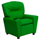 Upholstered Kids Recliner Chair - Cup Holder, Green