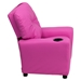Upholstered Kids Recliner Chair - Cup Holder, Hot Pink - FLSH-BT-7950-KID-HOT-PINK-GG