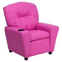 Upholstered Kids Recliner Chair - Cup Holder, Hot Pink