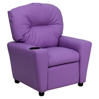 Upholstered Kids Recliner Chair - Cup Holder, Lavender