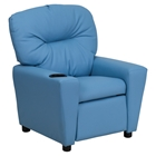 Upholstered Kids Recliner Chair - Cup Holder, Light Blue