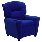 Microfiber Kids Recliner Chair - Cup Holder, Blue