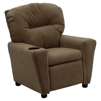 Microfiber Kids Recliner Chair - Cup Holder, Brown