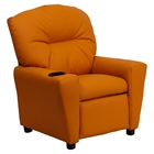 Upholstered Kids Recliner Chair - Cup Holder, Orange