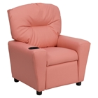 Upholstered Kids Recliner Chair - Cup Holder, Pink