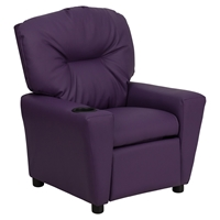 Upholstered Kids Recliner Chair - Cup Holder, Purple