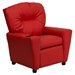 Upholstered Kids Recliner Chair - Cup Holder, Red - FLSH-BT-7950-KID-RED-GG