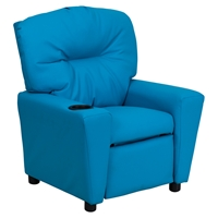 Upholstered Kids Recliner Chair - Cup Holder, Turquoise