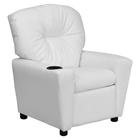 Upholstered Kids Recliner Chair - Cup Holder, White