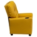 Upholstered Kids Recliner Chair - Cup Holder, Yellow - FLSH-BT-7950-KID-YEL-GG