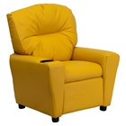 Upholstered Kids Recliner Chair - Cup Holder, Yellow