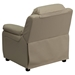 Deluxe Padded Upholstered Kids Recliner - Storage Arms, Beige - FLSH-BT-7985-KID-BGE-GG