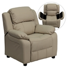 Deluxe Padded Upholstered Kids Recliner - Storage Arms, Beige