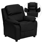 Deluxe Padded Upholstered Kids Recliner - Storage Arms, Black