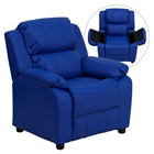 Deluxe Padded Upholstered Kids Recliner - Storage Arms, Blue