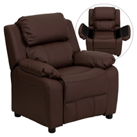 Deluxe Padded Upholstered Kids Recliner - Storage Arms, Brown