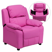 Deluxe Padded Upholstered Kids Recliner - Storage Arms, Hot Pink