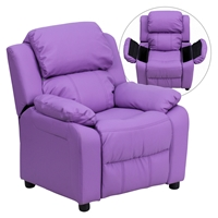 Deluxe Padded Upholstered Kids Recliner - Storage Arms, Lavender