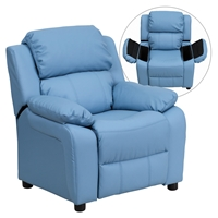 Deluxe Padded Upholstered Kids Recliner - Storage Arms, Light Blue