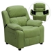 Deluxe Padded Upholstered Kids Recliner - Storage Arms, Avocado - FLSH-BT-7985-KID-MIC-AVO-GG