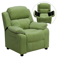 Deluxe Padded Upholstered Kids Recliner - Storage Arms, Avocado