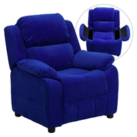Deluxe Padded Upholstered Kids Recliner - Storage Arms, Blue, Microfiber