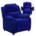Deluxe Padded Upholstered Kids Recliner - Storage Arms, Blue, Microfiber - FLSH-BT-7985-KID-MIC-BLUE-GG