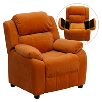 Deluxe Padded Upholstered Kids Recliner - Storage Arms, Orange, Microfiber
