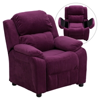 Deluxe Padded Upholstered Kids Recliner - Storage Arms, Purple, Microfiber