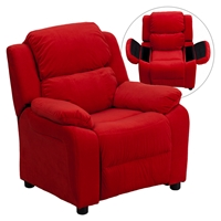 Deluxe Padded Upholstered Kids Recliner - Storage Arms, Red, Microfiber