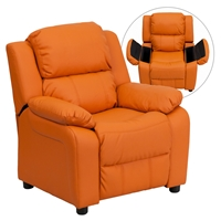 Deluxe Padded Upholstered Kids Recliner - Storage Arms, Orange