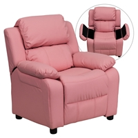 Deluxe Padded Upholstered Kids Recliner - Storage Arms, Pink