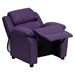 Deluxe Padded Upholstered Kids Recliner - Storage Arms, Purple - FLSH-BT-7985-KID-PUR-GG