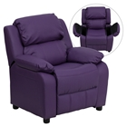 Deluxe Padded Upholstered Kids Recliner - Storage Arms, Purple