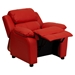 Deluxe Padded Upholstered Kids Recliner - Storage Arms, Red - FLSH-BT-7985-KID-RED-GG