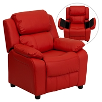 Deluxe Padded Upholstered Kids Recliner - Storage Arms, Red