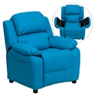 Deluxe Padded Upholstered Kids Recliner - Storage Arms, Turquoise