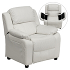 Deluxe Padded Upholstered Kids Recliner - Storage Arms, White