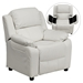 Deluxe Padded Upholstered Kids Recliner - Storage Arms, White - FLSH-BT-7985-KID-WHITE-GG
