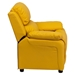 Deluxe Padded Upholstered Kids Recliner - Storage Arms, Yellow - FLSH-BT-7985-KID-YEL-GG