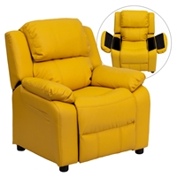 Deluxe Padded Upholstered Kids Recliner - Storage Arms, Yellow