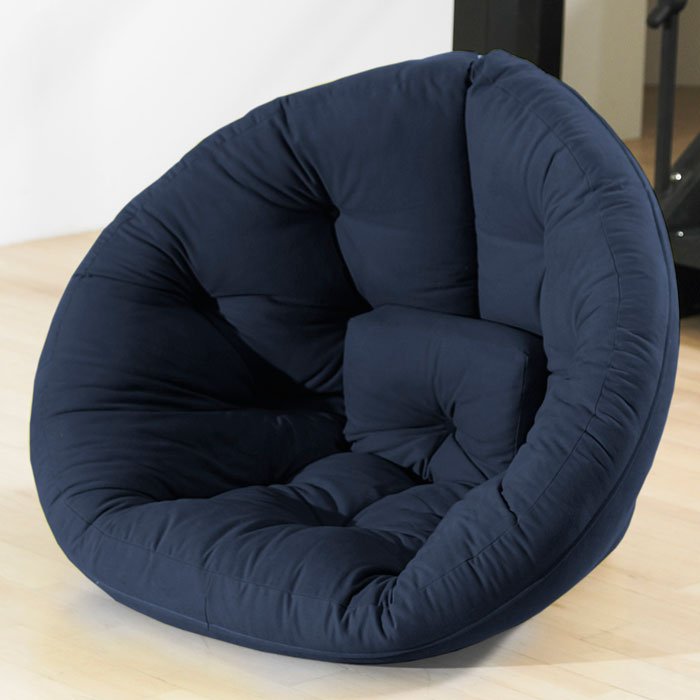 Nido Tufted Sleeper Lounge Chair in Navy Blue
