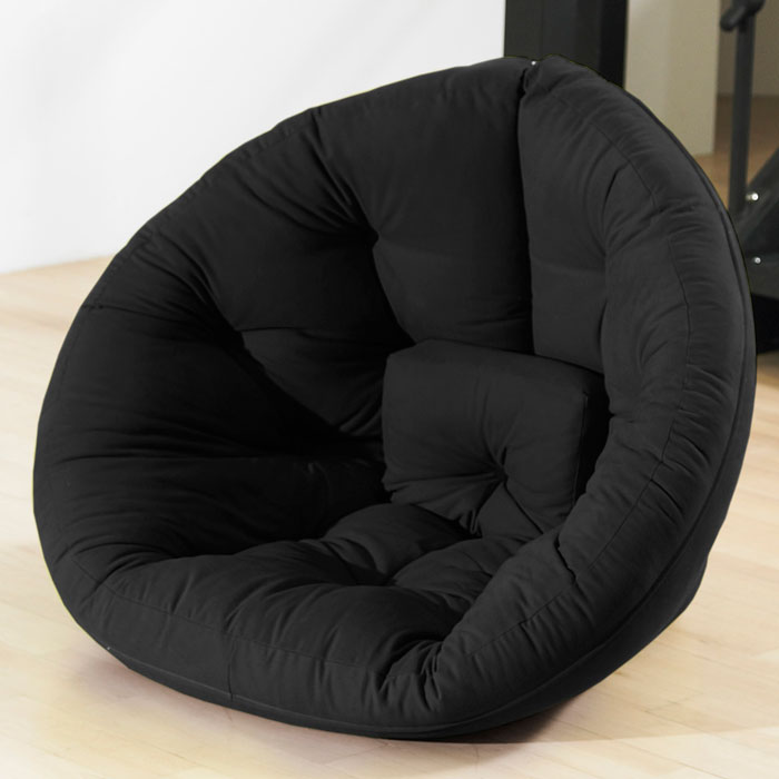 Nido Tufted Sleeper Lounge Chair in Black