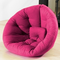 Nest Tufted Convertible Lounge Chair in Pink