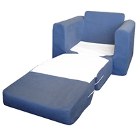 Kids Chair Sleeper in Blue Micro Suede
