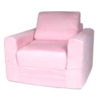 Kids Chair Sleeper in Pink Micro Suede