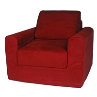 Kids Chair Sleeper in Red Micro Suede