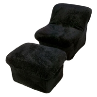 Tween Cloud Chair and Ottoman in Black Fun Fur
